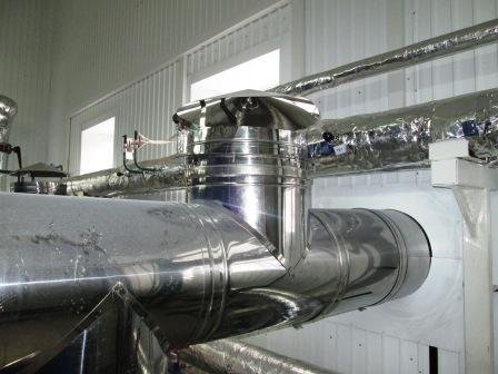 Фото.Аварии газовых котельных. Дыхательный клапан на газоходе после котла перед дымовой трубой