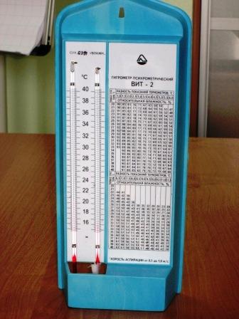 Фото. Дополнительные вопросы на экзамене. Гигрометр психрометрический ВИТ-2 для дополнительного вопроса на экзамене
